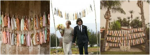 Des guirlandes tassels comme accessoire photobooth pour des photos de mariage tendances et fraîches