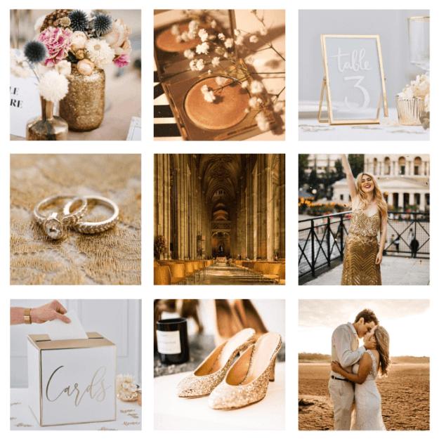 page d'ambiance mariage doré