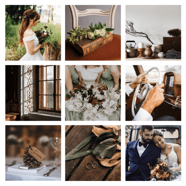 page d'ambiance mariage vintage automnal