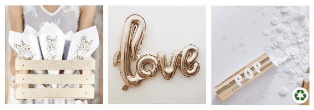 accessoires de mariage doré