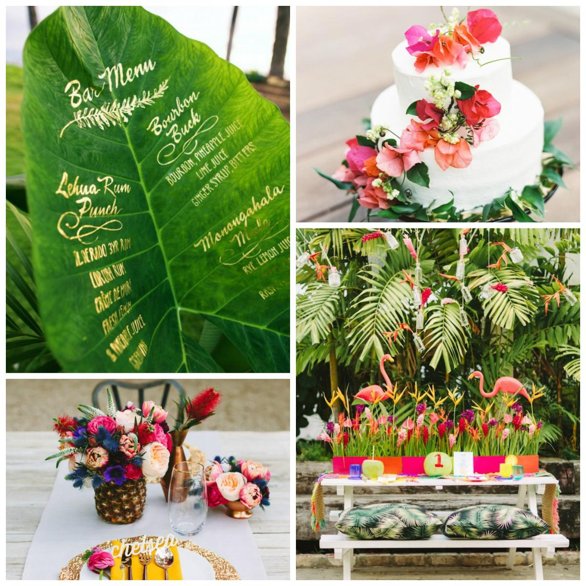 planche tendance mariage tropical